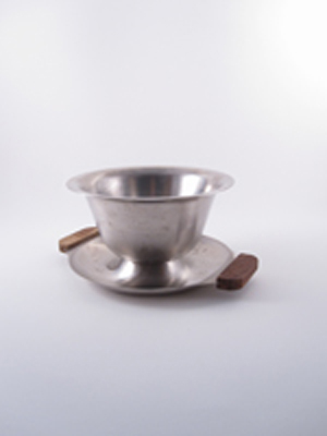 Stainless Steel Bowl with Saucer and Wood Handles