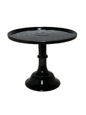 Black 11.5 in. Ceramic Cake Stand