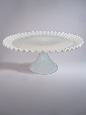 Hobnail Fenton 12 in. Milk Glass Cake Stand