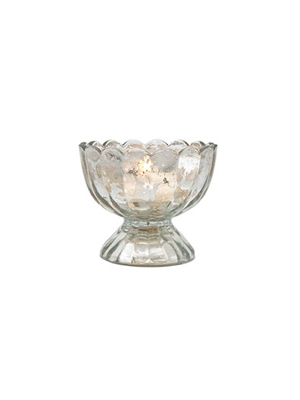 Silver Mercury Glass Tealight Holder – Sundae Cup