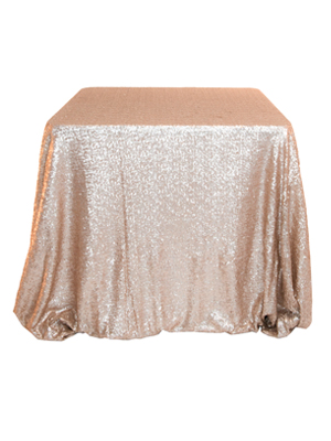 Sequin Tablecloth – Champagne 132 in. Round