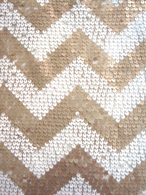 Sequin Zig Zag Tablecloth – White & Nude 90 x 156