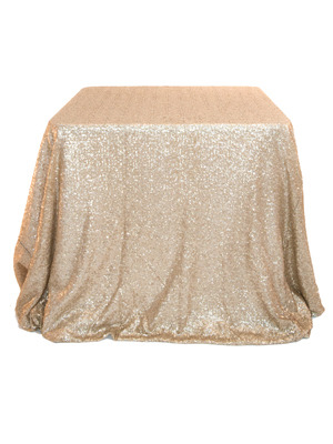 Sequin Tablecloth – Gold 96 in. Round