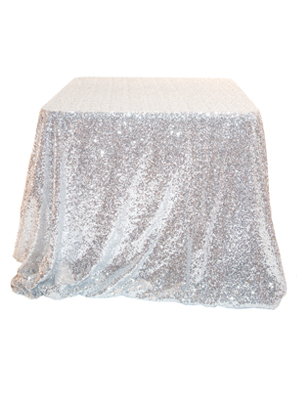 Sequin Tablecloth – Bright Silver 90 in. Round