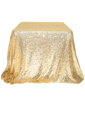 Sequin Tablecloth – Bright Gold 90 in. Round
