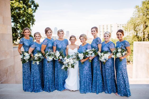 blue glitter sequin bridesmaid dress